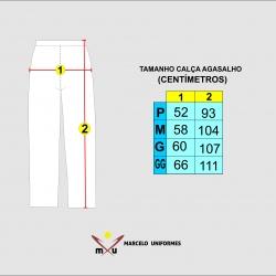 Tabela de Medidas Calça de Agasalho