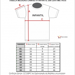 Tabela de Medidas Camisetas Infantis
