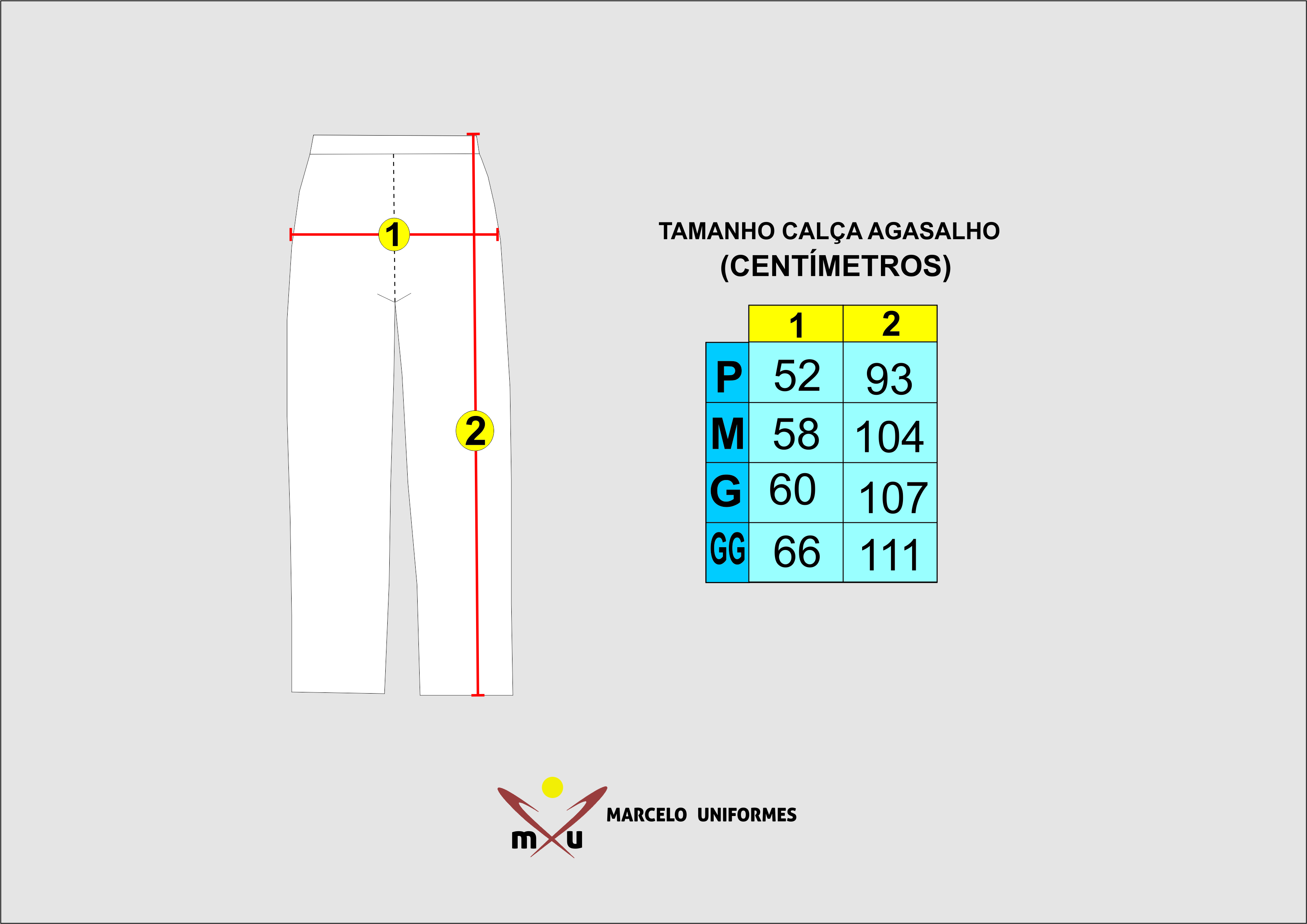 095ddf458 Tabela de Medidas Calça de Agasalho