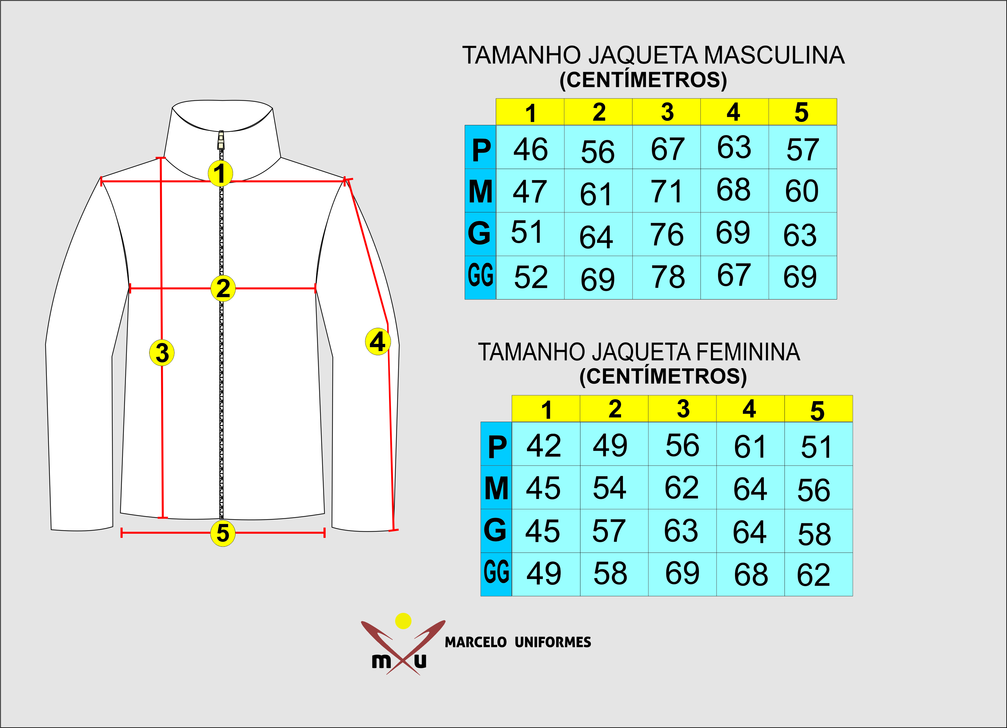 1e4301f69 Marcelo Uniformes - Tabela de Medidas Jaquetas Femininas e Masculinas